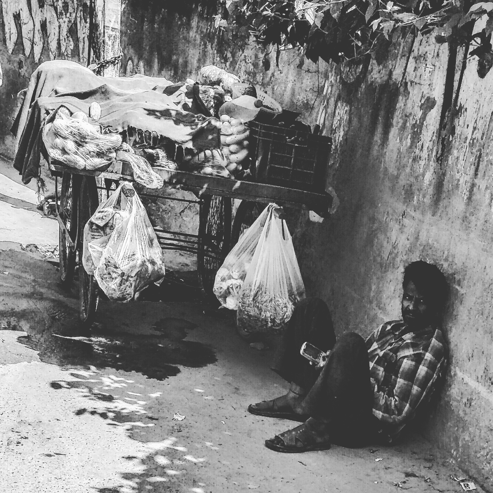 An exhausted vegetable-seller takes a breather in Delhi's scorching heat by sitting against a wall in an attempt to protect himself from the Sun