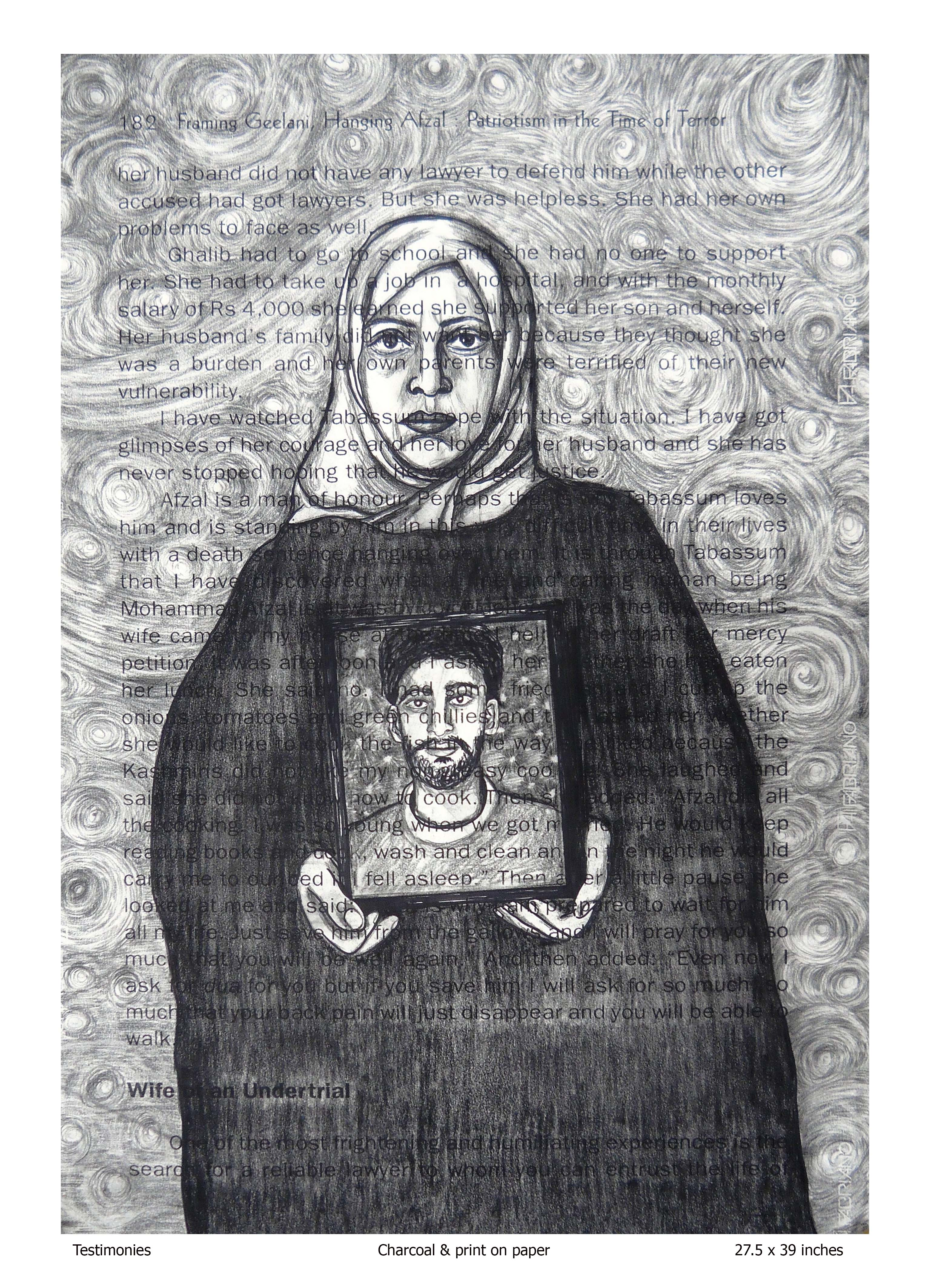 Testimonies, Charcoal and print on paper, Rollie Mukherjee