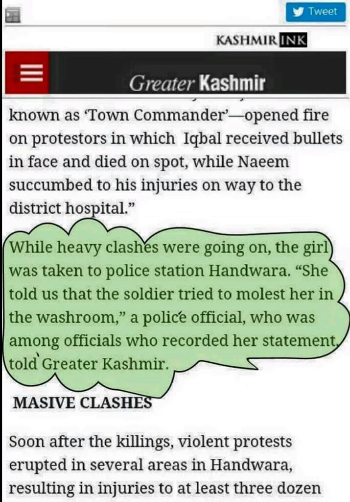 Girl's first statement recorded by police ( via Greater Kashmir )