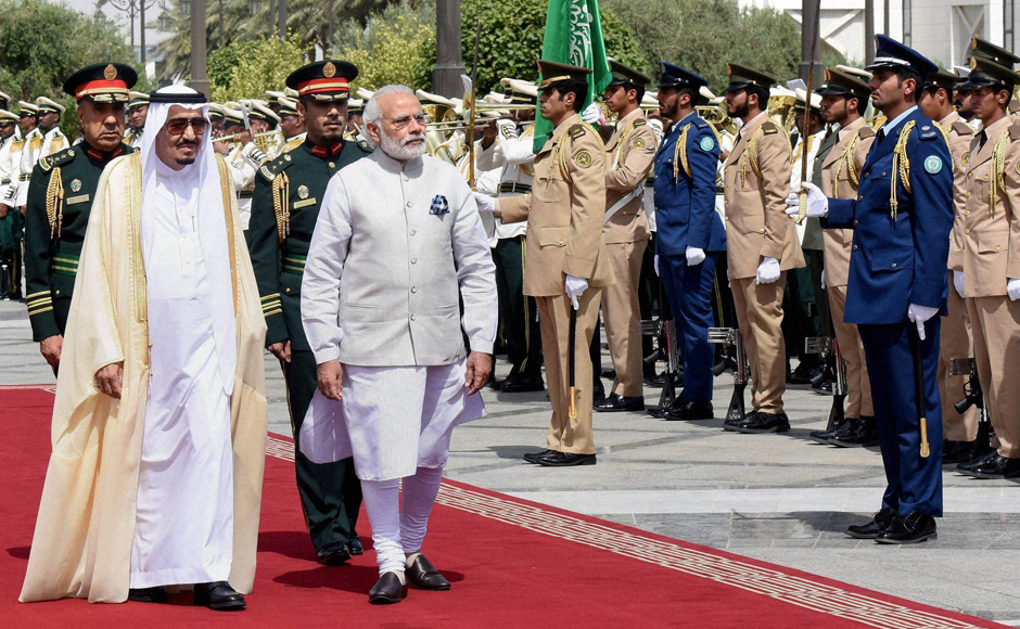 Indian Prime Minister Narendra Modi receiving guard of honor in Riyadh