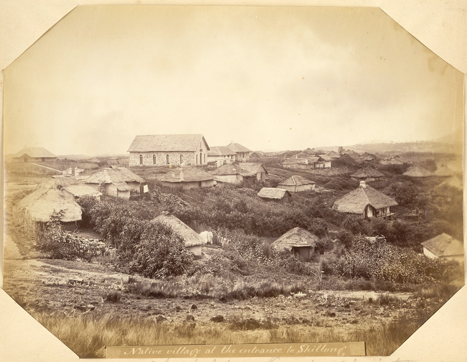 """Native village at the entrance to Shillong. Chapel for Kasia Christians"" 