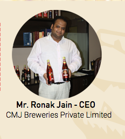 Mr. Ronak Jain, Screengrab from http://cmjbrewery.com/about-us.php