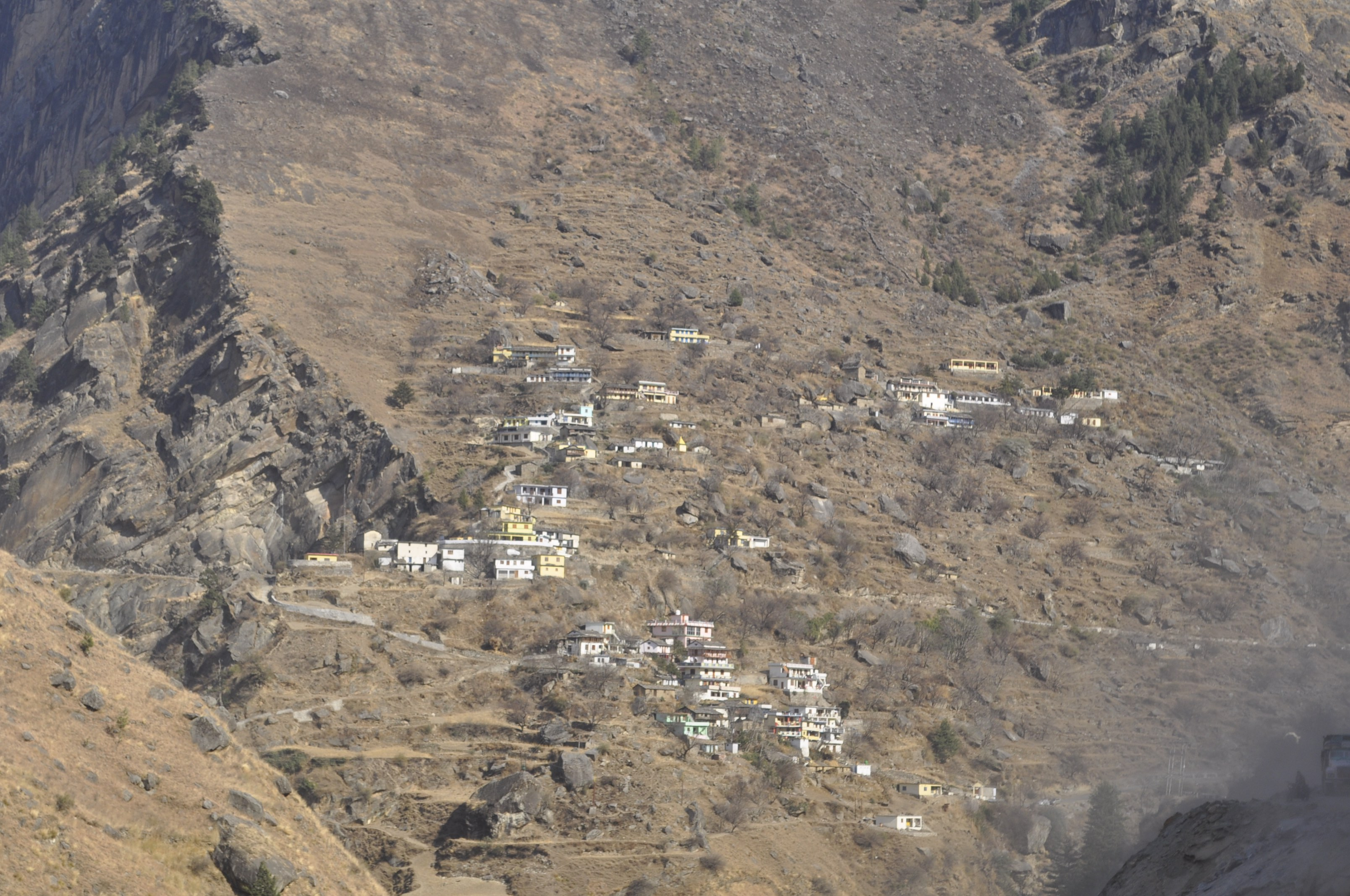 Settlements on hill slopes in Nanda Devi Biosphere -- Near Tapoban
