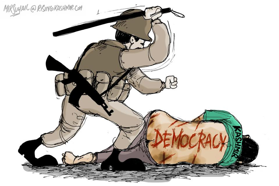 Mir Suhail, a political cartoonist based in Kashmir manifests how Indian security forces teach lessons of democracy to Kashmiris.